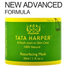 TATA HARPER SKINCARE New Advanced Formula Resurfacing Mask- this easy-to-use and effective mask improves the skin's appearance by eliminating dull and blemished skin cells with active Pomegranate Enzymes. 11 natural active ingredients, including Lemon Grass, Beet Extract and Aloe Vera leaves the skin noticeably smoother, brighter and glowing. 30 ml $55