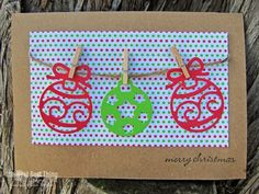 Die-Namites Cutting Dies - DIY Christmas Cards - ornament banner holiday card - mini natural clothespins, jute cord, lime and red printed paper, kraft cards #DIYChristmasCards