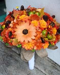 Fall Bouquet made of Wooden Flowers and Corn Husk Calla Lilies