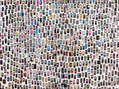 Chinese artist Liu Bolin paints his entire body to exactly match the scenery behind him. He is camouflaged so well it is sometimes almost impossible to spot him.  |  'Mobile Phones' by Liu Bolin