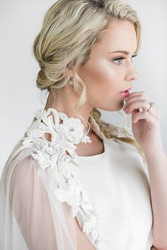 VENE AI | Bridal Cover Ups - English net drape cap with shoulder embellishment