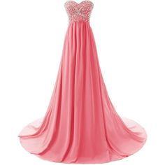 Dressystar Flowing Chiffon Sweetheart Beaded Bridesmaid Prom Dress... (630 NOK) ❤ liked on Polyvore featuring dresses, gowns, chiffon gown, red prom dresses, prom ball gowns, red gown and red prom gowns