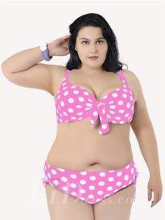 Pink With White Dot Printing Plus Size Sexy Womens Bikini Lidyy1605241045