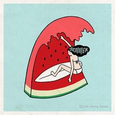 Ride the wave #illustration #graphicdesign by @limhengswee #sun #sand #sea #surf #watermelon #summer #beach #surfgirl #wave #life #surfing #ocean #love
