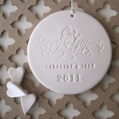 **Attempt to do this w/the Salt Dough **newlyweds, new family OUR FIRST CHRISTMAS Together personalized calligraphy ornament by Paloma's Nest, wedding, engagement, anniversary gift. $38.00, via Etsy.