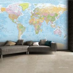Contemporary grey world map wallpaper mural wallpaper murals world map wallpaper mural gumiabroncs Images