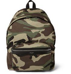 Saint Laurent Leather-Trimmed Camouflage-Print Canvas Backpack | MR PORTER