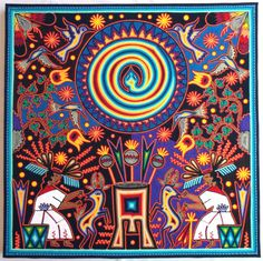 23.5 Mexican Huichol Marakame Ritual  yarn painting by Aramara