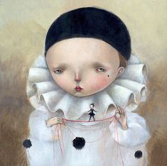 PIERROT, Dilkane Nassyrova (aka Dilka Bear or Dilkabear) was born in Alma-Ata, Kazakhstan (USSR) in lives and work in Triste, Italy Pierrot, Mark Riden, Art Du Cirque, Bear Art, Pop Surrealism, Italian Artist, Illustrations, Whimsical Art, Face Art