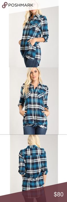 🚨COMING SOON🚨 🚨LIKE TO BE NOTIFIED OF ARRIVAL AND PRICE DROP🚨New and perfect for the chilly season! Beautiful blue flannel tunic long sleeve top. Front pockets. Pair with leggings and boots or jeans and tennies. Very versatile top. Multiple sizes available. Tops Tees - Long Sleeve