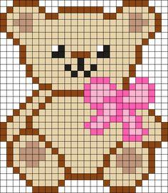 Teddy Bear Perler Bead Pattern / Bead Sprite