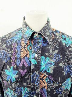 Vintage AWESOME Wrangler Paisley Geometric Floral Print Cowboy Western Shirt XL