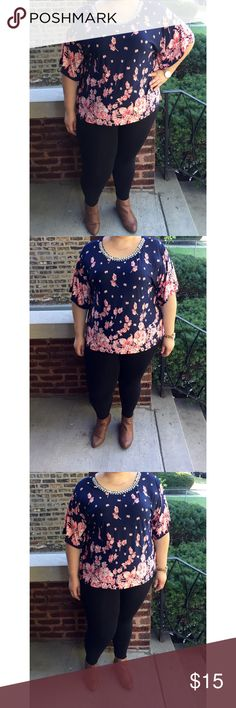 Plus Size Floral Top PLEASE READ-Plus Size navy top with pink floral prints. Defective, missing rhinestone. Tops Blouses