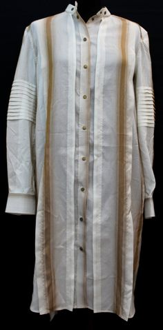 BELSTAFF-Ladies-Ivory-Brown-Striped-Pure-Silk-Popper-Shirt-Dress-IT38-UK6