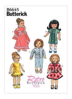 Sewing Pattern for Retro Doll Clothing to fit Doll, Butterick Craft Pattern 18 inch Doll Clothing, Retro 1965 for Dolls Doll Sewing Patterns, Doll Clothes Patterns, Craft Patterns, Clothing Patterns, Pattern Sewing, Hook And Loop Fastener, Bias Tape, 18 Inch Doll, Vintage Sewing