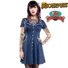 Anchor Western Dress in Blue/Black by Sourpuss Clothing