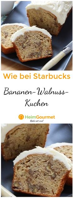 """We reveal the secret of the BANANA WALNUT cake from """"STARBUCKS"""" - Soft banana cake with small pieces of walnut under a sweet cream cheese glaze like """"Starbucks"""". Starbucks Cake Pops, Starbucks Caramel, Starbucks Pumpkin, Banana Walnut Cake, Banana Bread, Salted Caramel Cake, Cupcakes, Pastel, Food Cakes"""