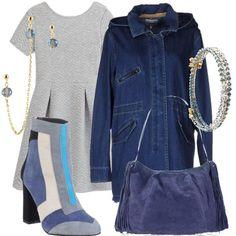 Il+denim+può+essere+casual,+ma+anche+elegante.+Questo+abitino+in+jacquard+grigio+chiaro+è+molto+versatile,+perchè+anche+se+all'apparenza+è+retrò+può+essere+rivisitato+e+reso+molto+moderno+come+in+questo+look.+Il+tronchetto+scamosciato+grigio,+bianco,+celeste,+blu+e+azzurro+polvere+è+davvero+singolare.+Può+essere+abbinato+alla+borsa+scamosciata+azzurro+polvere,+il+giubbotto+denim+con+zip+e+bottoni+automatici+e+orecchini+e+bracciale+con+cristalli+grigi+e+azzurri+e+placcato+oro+18kt.