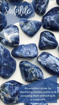 Sodalite Tumbled Pocket Stone — Rocks with Sass Sodalite is an excellent stone for identifying shadow patterns and accepting them without guilt or judgment. Crystals Minerals, Rocks And Minerals, Crystals And Gemstones, Stones And Crystals, Gem Stones, Healing Gemstones, Story Stones, Crystal Healing Stones, Crystal Magic