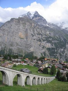 Village of Mürren in Berne Canton, Switzerland