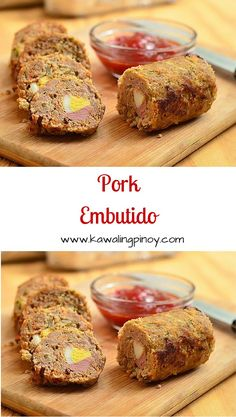 Pork embutido are Filipino-style meatloaves made of ground pork, carrots, raisins, eggs and sausage wrapped in foil and steamed until firm