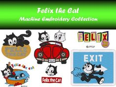 Felix the Cat and Characters Machine Embroidery Design MULTIPLE FORMAT 100% of the designs in this collection are sized for a 4 x 4 hoop.   You will receive access to the following formats:  DST, EXP, HUS, JEF, PES, SEW, VIP, VP3, XXX.  DST - Tajima EXP - Melco machines HUS - Viking, Husqvarna  JEF - Janome machines PES - Brother, Baby Lock, Bernina SEW - Janome VIP - Pfaff VP3 - Husqvarna, Pfaff XXX - Singer, Compucon