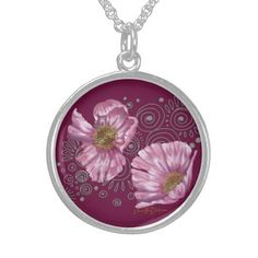 Pink Poppies on Silver Spirals Personalized Necklace $99.85 #Christmas2014 #giftideas