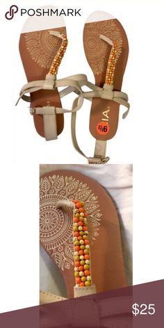 MIA beaded sandals Cream leather with cream, mustard, and orange beads. NWT. Let me know if you have any questions or would like more photos! Mia Shoes Sandals