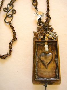 Handmade Etched Bezel Necklace with Soldered by metallography