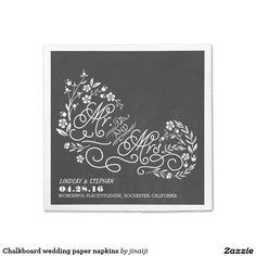 Chalkboard wedding paper napkins standard cocktail napkin