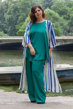 Kimono cu dungi SNK PLUS 11 - AMA Fashion Kimono, Cover Up, Sari, Plus Size, Cool Stuff, Dresses, Fashion, Saree, Vestidos