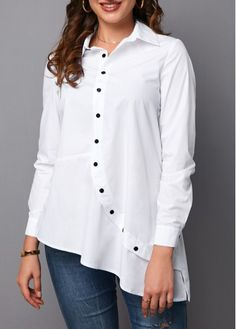 White Asymmetrical Hem Button Up Shirt Asymmetric Hem Button Up Turndown Collar Blouse Stylish Dress Designs, Stylish Dresses, Kurta Designs, Blouse Designs, Girls Fashion Clothes, Fashion Outfits, Girls Dresses Sewing, Trendy Tops, Casual Tops