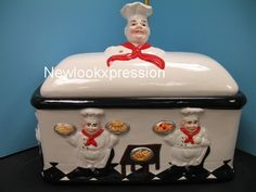 3D Italian Fat chef Bread box Kitchen Ceramic BISTRO waiter bar set decor home . | eBay