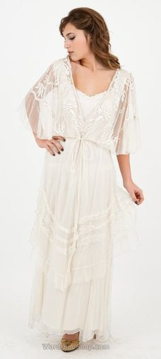 Vintage inspired wedding dress - River Fairy Wedding Dress in Ivory by Nataya $900.00 AT vintagedancer.com