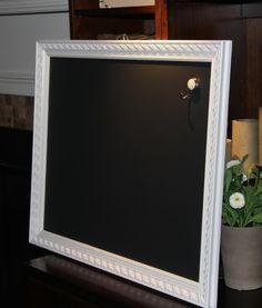 Large Magnetic White OrnateFramed Chalkboard by PoshPilfer on Etsy, $80.00