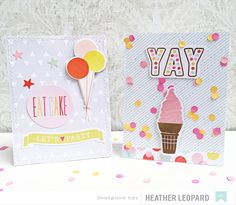 Dear Lizzy Fine and Dandy Card Inspiration - Scrapbook.com - Cut birthday cards with machine stitching!