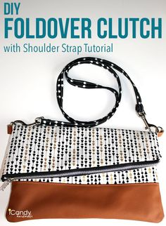 DIY Foldover Clutch with Shoulder Strap Tutorial / iCandy handmade
