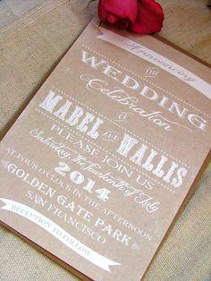 White print wedding invitations DIY or printed. $100.00, via Etsy.