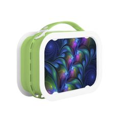 Colorful Luminous Abstract Blue Pink Green Fractal Lunch Box