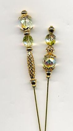 Czech Peridot and Gold Bead 6 inch Hatpins - Hatpins - Roses And Teacups Gold Beads, Crystal Beads, Beaded Jewelry, Handmade Jewelry, Hijab Pins, Stick Pins, Sewing Accessories, Pin Cushions, Lapel Pins
