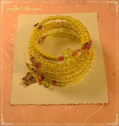 Yellow Butterfly Extra Small Memory Wire Wrap by crafts4thecure