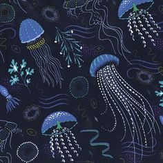 Into the deep is a really striking submarine print of dreamy jellyfish that give a real sense of movement. The brighter blue of the jellyfish against the rich,