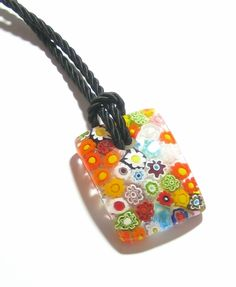 Murano Glass Colorful Millefiori Rectangle Pendant, Marked Murano