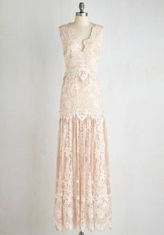 Night of a Lifetime Dress in Champagne. As you twirl under a gazebo's twinkling lights, the beige and vanilla lace of this luxe gown from Erin Fetherston catches the moon's glow. #blush #wedding #bride #modcloth