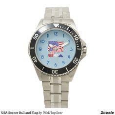 USA Soccer Ball and Flag Wrist Watch