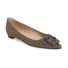 Women's Manolo Blahnik 'Hangisi' Jeweled Pointy Toe Flat (15.150 ARS) ❤ liked on Polyvore featuring shoes, flats, bronze, vintage shoes, bronze flat shoes, pointed toe shoes, pointy-toe flats and manolo blahnik shoes