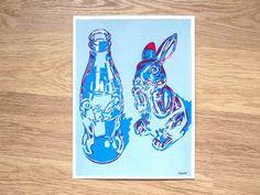 "Reflections on Glass Original Serigraph Hand Printed Screen Print Art 20"" x 14"" coca cola coke bottle fine silkscreen printing screenprint by komarovart on Etsy"