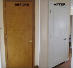 painting a paneled door | Flat panel door...add some picture mould and paint...new ... | Our Ho ...