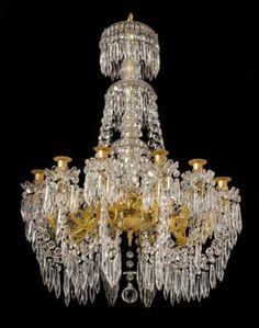 Marvin Alexander,Inc. Baccarat gilded bronze and crystal twelve light chandelier, France, circa 1880.