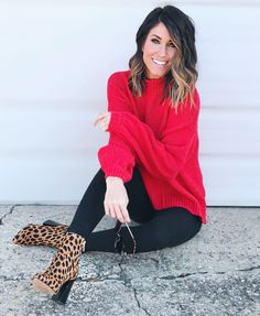 50 Stylish Red Outfits Ideas For This Winter – Red outfit Booties Outfit, Leopard Shoes Outfit, Leopard Print Boots, Red Sweater Outfit, Cold Outfits, Casual Outfits, Girl Outfits, Fall Winter Outfits, Fashion Clothes